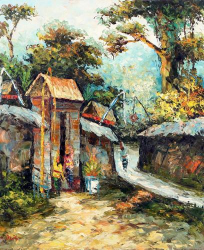 The Village 3 by Azis Onassis Original Fine Art from Ketut Rudi