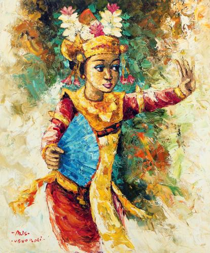 The Legong Dancer by Azis Onassis Original Fine Art from Ketut Rudi