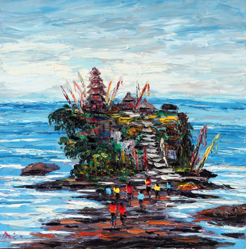 Approaching Tanah Lot by Azis Onassis Original Fine Art from Ketut Rudi