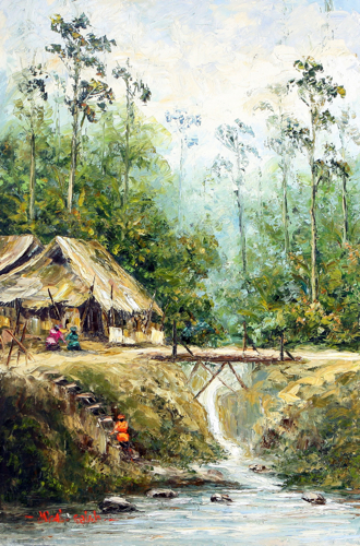 Village Scenes: beside the bridge by Soleh Jablay Original Fine Art from Ketut Rudi