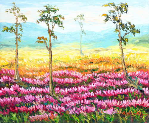 Beneath the Mountain by Soleh Jablay Original Fine Art from Ketut Rudi