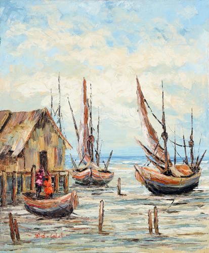 At Low Tide by Soleh Jablay Original Fine Art from Ketut Rudi