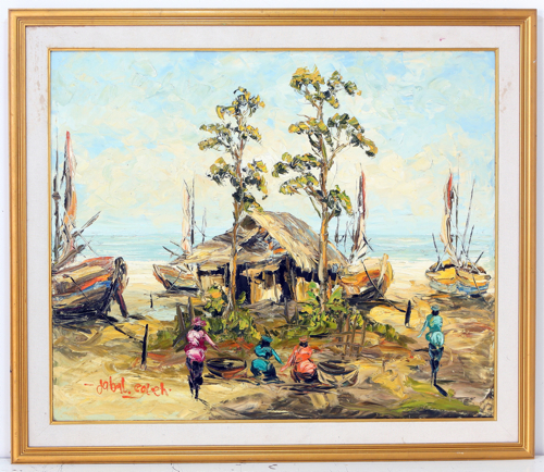 The Fishing Village (morning) by Soleh Jablay Original Fine Art from Ketut Rudi