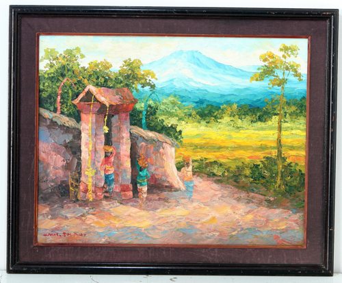 Village Gate in Early Morning by Soleh Jablay Original Fine Art from Ketut Rudi