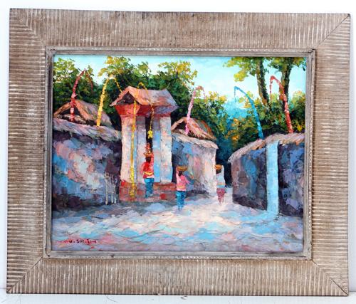 Village Gate at Sunset by Soleh Jablay Original Fine Art from Ketut Rudi