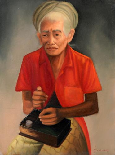 The Spinner by Wayan Sunteg Original Fine Art from Ketut Rudi