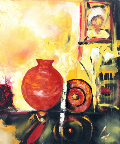 Red Vase by Yanto Original Fine Art from Ketut Rudi