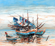 Skiffs by Azis Onassis Original Fine Art from Ketut Rudi