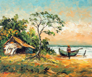 Setting out to Sea by Azis Onassis Original Fine Art from Ketut Rudi