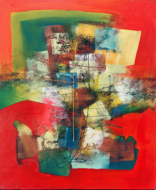Abstract with red and green by Mahendra Original Fine Art from Ketut Rudi