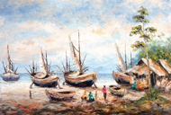 Living by the Sea by Soleh Jablay Original Fine Art from Ketut Rudi