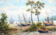 Boats on the Shore by Soleh Jablay Original Fine Art from Ketut Rudi