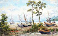 Boats on the Shore by Soleh Jablay Original Fine Art from Ketut Rudi