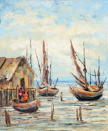 At Low Tide by Soleh Jablay Original Fine Art from Ketut Rudi