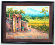 Village Gate in Early Morning by Soleh Jablay Original Fine Art from Ketut Rudi