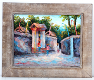 Village Gate at Sunset by Soleh Jablay Original Fine Art from Ketut Rudi