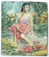 Girl seated with Flowers by Sony Santosa Original Fine Art from Ketut Rudi