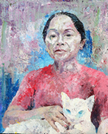 Lady with Cat by Sony Santosa Original Fine Art from Ketut Rudi