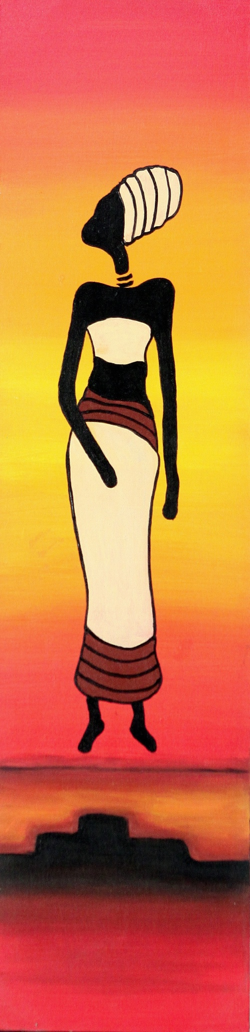 Lady with Headdress (Red) by Wardika Original Art